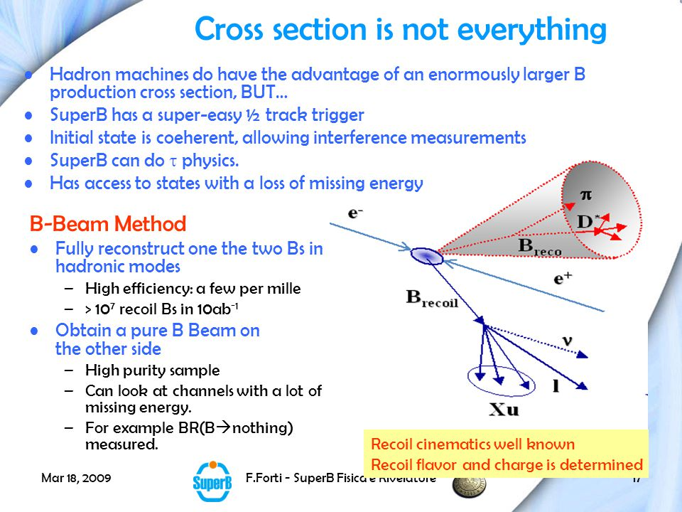 Mar 18, 2009F.Forti - SuperB Fisica e Rivelatore17 Cross section is not everything B-Beam Method Fully reconstruct one the two Bs in hadronic modes –High efficiency: a few per mille –> 10 7 recoil Bs in 10ab -1 Obtain a pure B Beam on the other side –High purity sample –Can look at channels with a lot of missing energy.