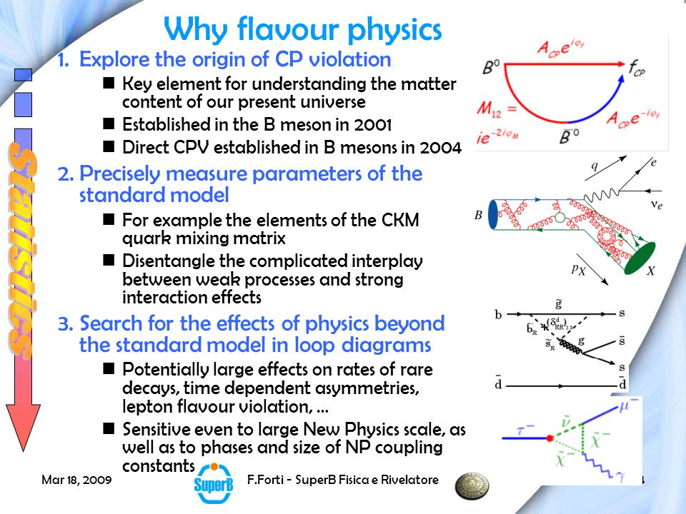 Mar 18, 2009F.Forti - SuperB Fisica e Rivelatore15 *Measurement of D oscillations opens new window to search of CPV in charm.