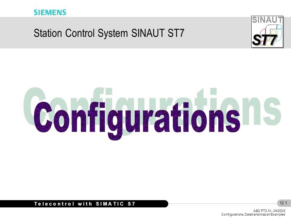 SINAUT S S T7 12.12 A&D PT2 M - 04/2003 Configurations, Datatransmission Examples T e l e c o n t r o l w i t h S I M A T I C S 7 Out- stations CPU 300 TIM 32 MD2 DI DO AI AO CPU 300 TIM 3V RS485 DI DO AI AO RSM Node station Control Center MPI TIM 42 MD2 RS485 MPI CPU 400 MPI DI DO AI AO ST7cc MD2 Dedic.