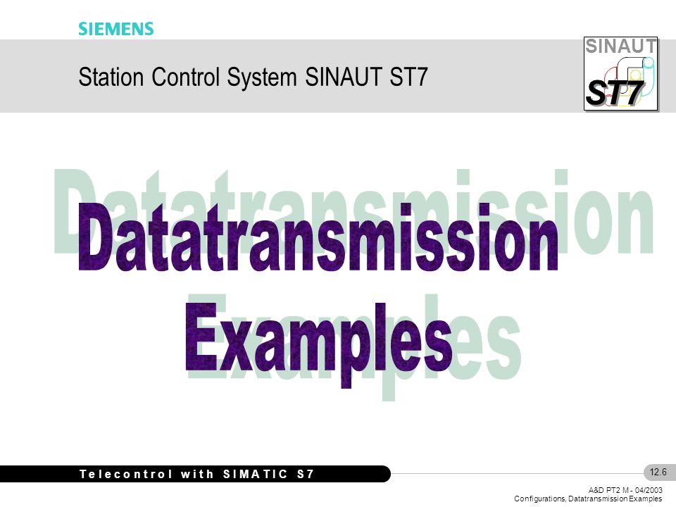 SINAUT S S T7 12.6 A&D PT2 M - 04/2003 Configurations, Datatransmission Examples T e l e c o n t r o l w i t h S I M A T I C S 7 Station Control System SINAUT ST7