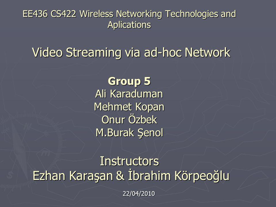 EE436 CS422 Wireless Networking Technologies and Aplications Video Streaming via ad-hoc Network Group 5 Ali Karaduman Mehmet Kopan Onur Özbek M.Burak Şenol Instructors Ezhan Karaşan & İbrahim Körpeoğlu 22/04/2010