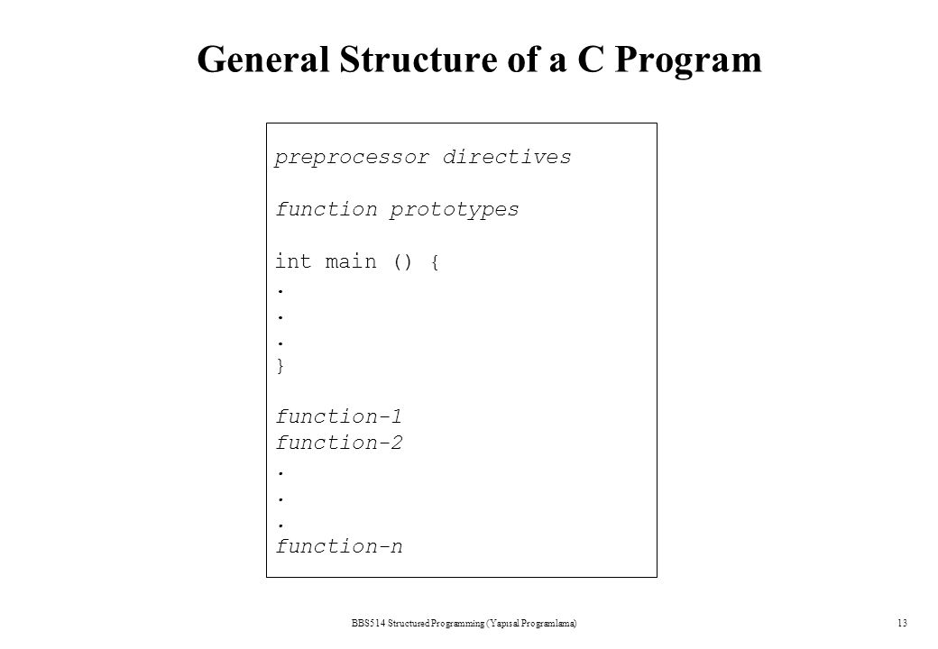 BBS514 Structured Programming (Yapısal Programlama)13 General Structure of a C Program preprocessor directives function prototypes int main () {. } fu
