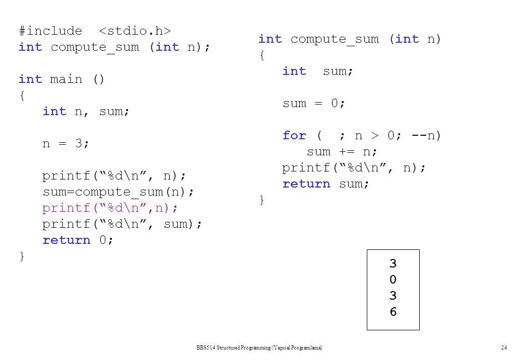 BBS514 Structured Programming (Yapısal Programlama)24 #include int compute_sum (int n); int main () { int n, sum; n = 3; printf( %d\n , n); sum=compute_sum(n); printf( %d\n ,n); printf( %d\n , sum); return 0; } int compute_sum (int n) { int sum; sum = 0; for ( ; n > 0; --n) sum += n; printf( %d\n , n); return sum; } 30363036