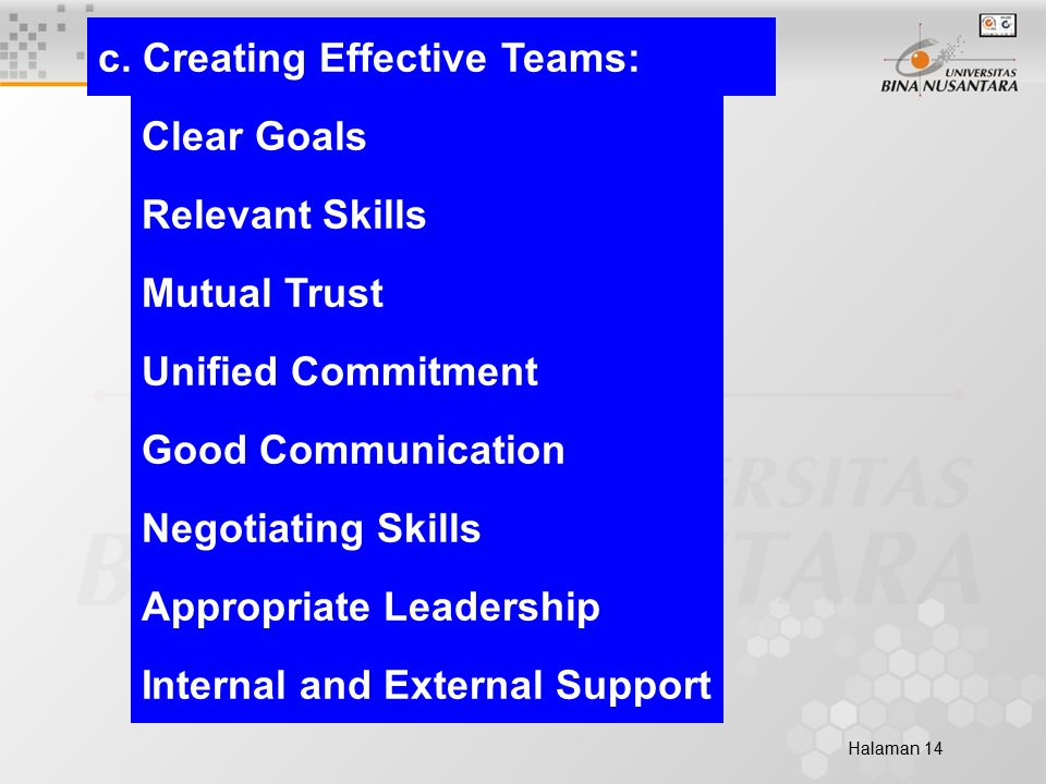 Halaman 14 c. Creating Effective Teams: Clear Goals Relevant Skills Mutual Trust Unified Commitment Good Communication Negotiating Skills Appropriate