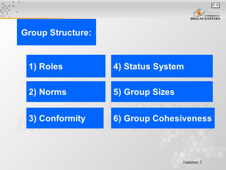 Halaman 7 6) Group Cohesiveness 5) Group Sizes 4) Status System 3) Conformity 2) Norms 1) Roles Group Structure: