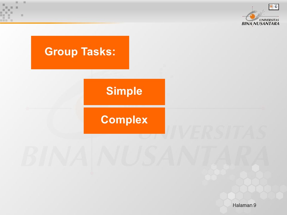 Halaman 9 Group Tasks: Complex Simple