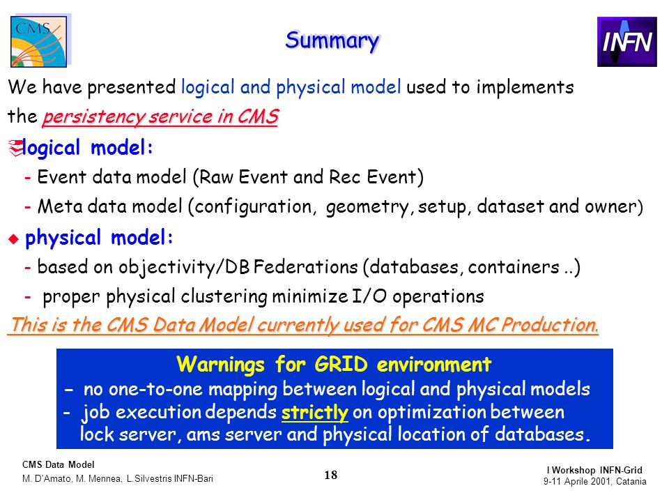 9-11 Aprile 2001, Catania I Workshop INFN-Grid M. D Amato, M.