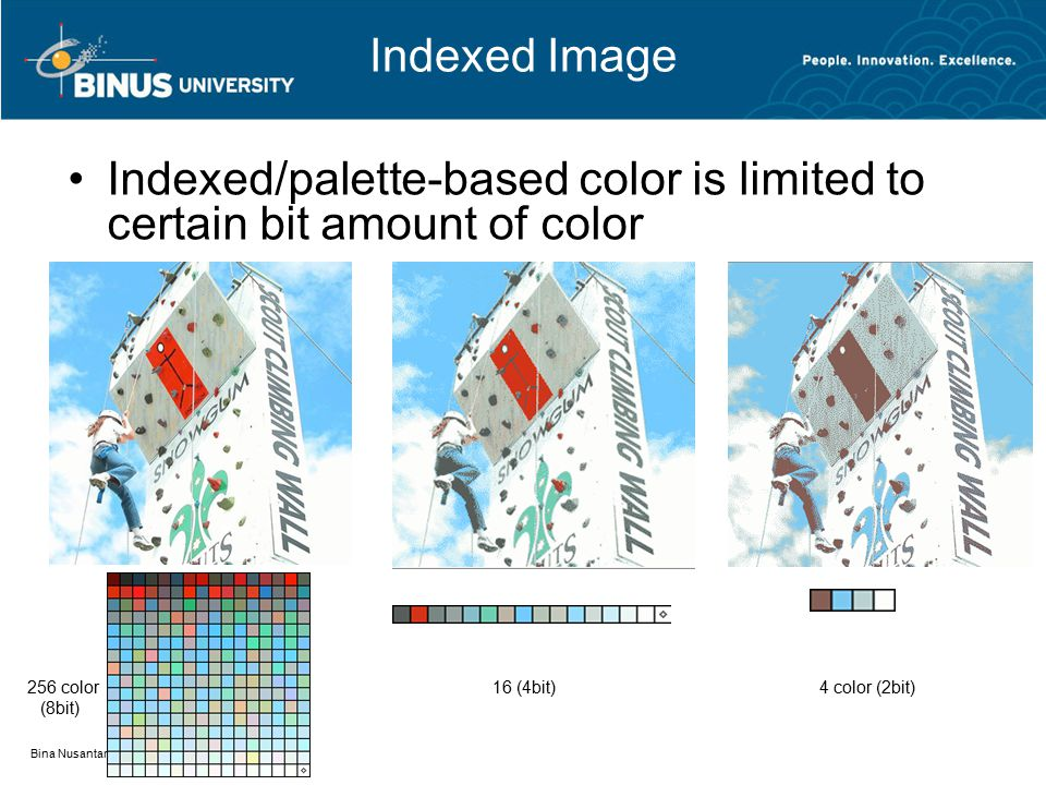 Bina Nusantara Indexed Image Indexed/palette-based color is limited to certain bit amount of color 256 color (8bit) 16 (4bit)4 color (2bit)