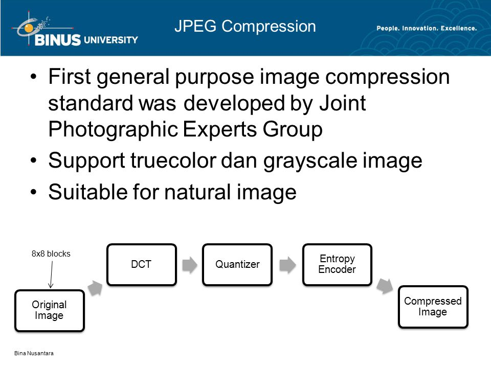 JPEG Compression First general purpose image compression standard was developed by Joint Photographic Experts Group Support truecolor dan grayscale image Suitable for natural image Bina Nusantara Original Image DCTQuantizer Entropy Encoder Compressed Image 8x8 blocks