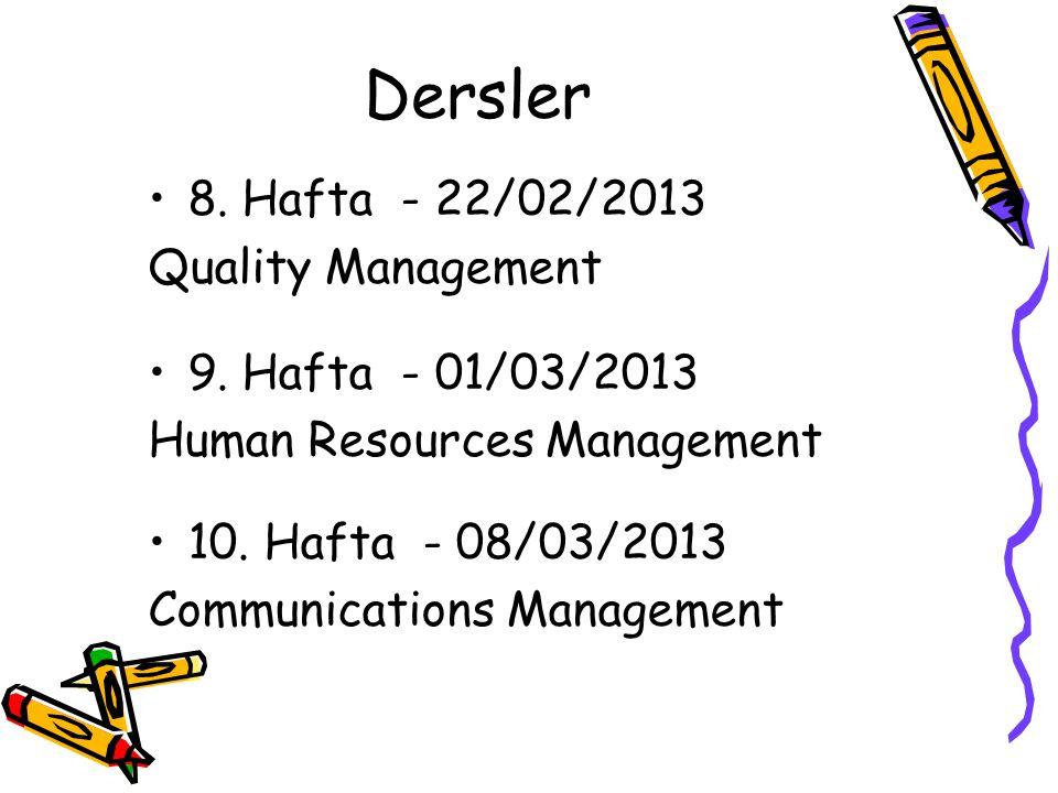 Dersler 8. Hafta - 22/02/2013 Quality Management 9. Hafta - 01/03/2013 Human Resources Management 10. Hafta - 08/03/2013 Communications Management