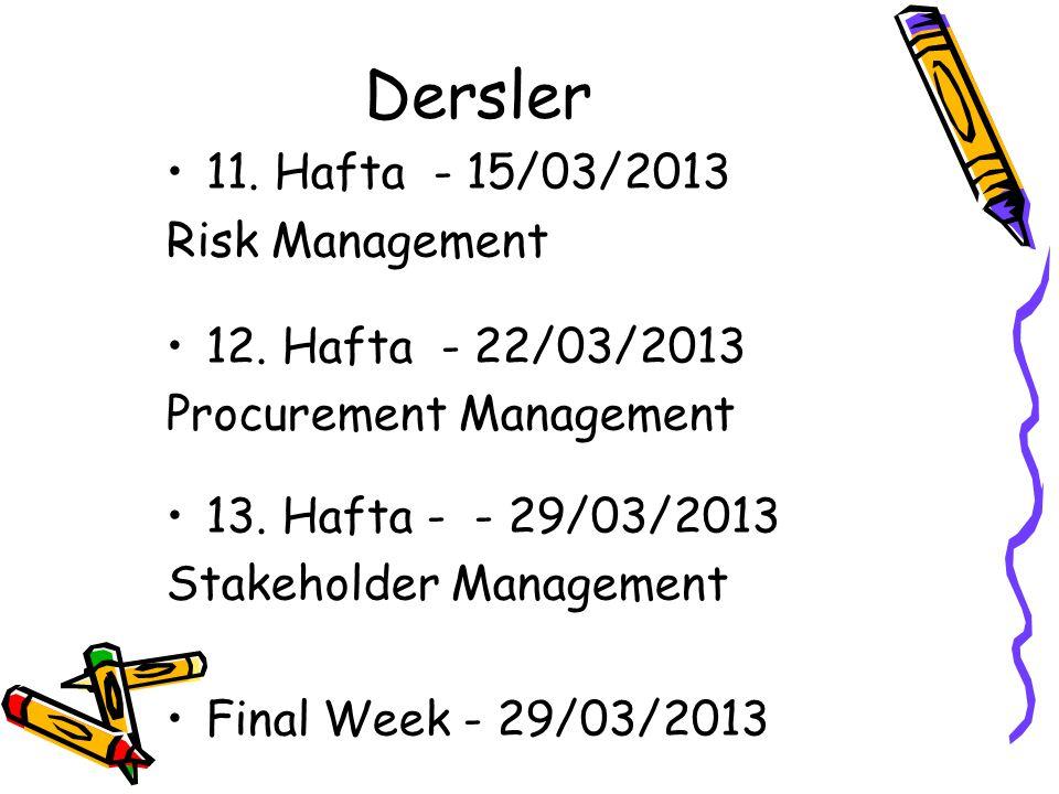 Dersler 11. Hafta - 15/03/2013 Risk Management 12. Hafta - 22/03/2013 Procurement Management 13. Hafta - - 29/03/2013 Stakeholder Management Final Wee