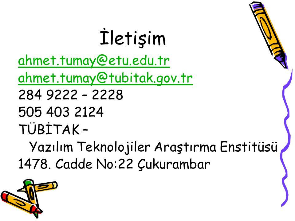 İletişim ahmet.tumay@etu.edu.tr ahmet.tumay@tubitak.gov.tr 284 9222 – 2228 505 403 2124 TÜBİTAK – Yazılım Teknolojiler Araştırma Enstitüsü 1478. Cadde