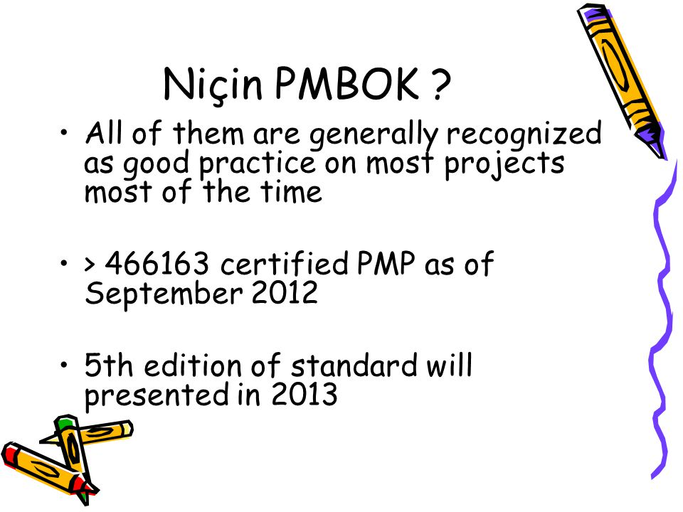Kaynaklar PMBOK 5 th Edition (www.pmi.org) CMMI v1.3 Level 2 (+3 IPM) Process Areas (sei.cmu.edu) ISO 12207, 1058 The Deadline, A Novel About Project Management Tom DEMARCO Silver Bullet,