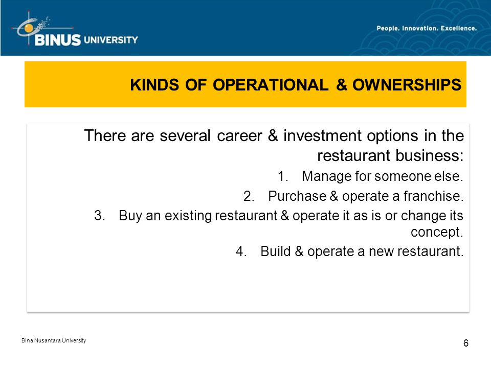 KINDS OF OPERATIONAL & OWNERSHIPS Bina Nusantara University 6 There are several career & investment options in the restaurant business: 1.Manage for someone else.