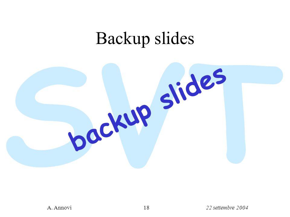 22 settembre 2004A. Annovi18 SVT Backup slides backup slides
