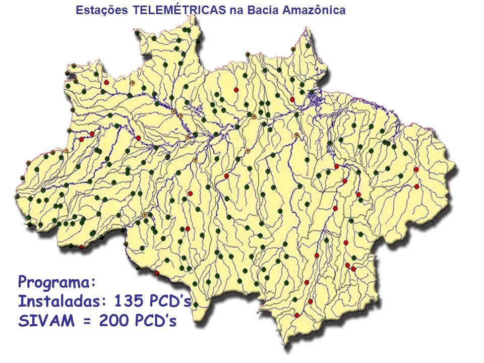 Programa: Instaladas: 135 PCD's SIVAM = 200 PCD's Estações TELEMÉTRICAS na Bacia Amazônica