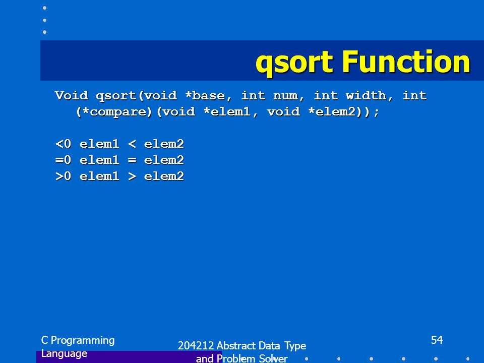 C Programming Language 204212 Abstract Data Type and Problem Solver 54 qsort Function Void qsort(void *base, int num, int width, int (*compare)(void *