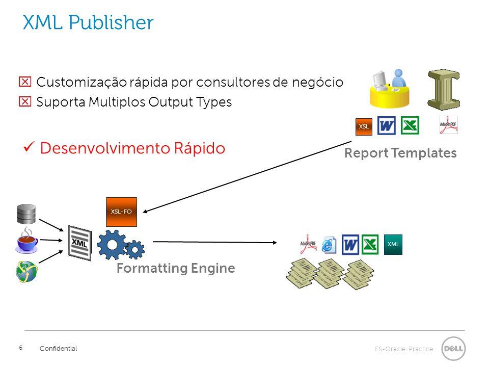 ES-Oracle Practice Confidential 6 XML Publisher Confidential Report Templates Formatting Engine  Customização rápida por consultores de negócio  Suporta Multiplos Output Types XSL XML Desenvolvimento Rápido XSL-FO