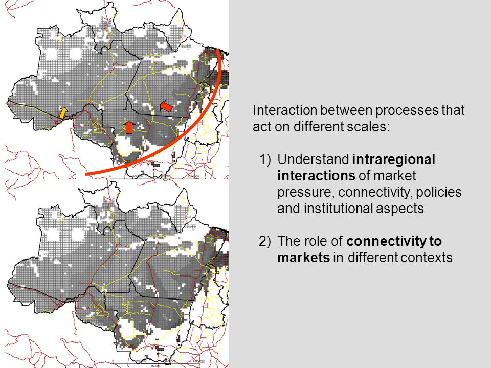 Interaction between processes that act on different scales: 1)Understand intraregional interactions of market pressure, connectivity, policies and institutional aspects 2)The role of connectivity to markets in different contexts