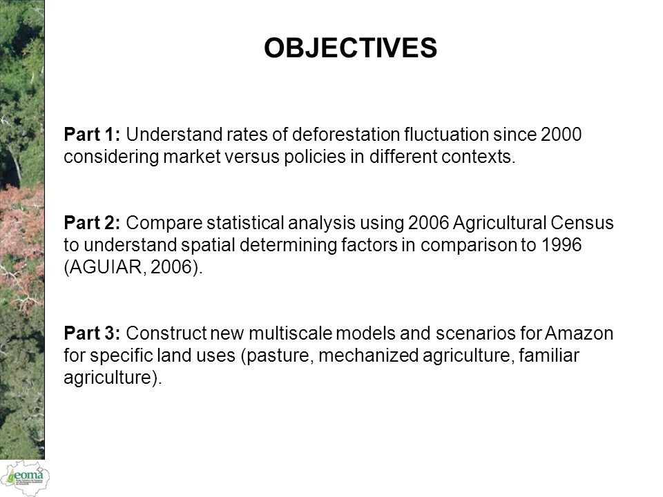 OBJECTIVES Part 1: Understand rates of deforestation fluctuation since 2000 considering market versus policies in different contexts. Part 2: Compare