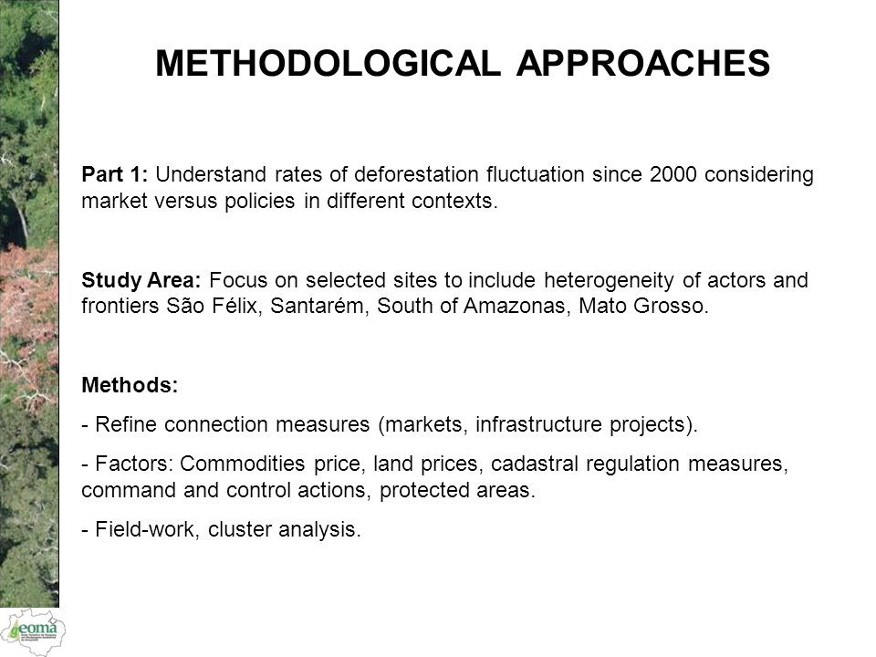 METHODOLOGICAL APPROACHES Part 1: Understand rates of deforestation fluctuation since 2000 considering market versus policies in different contexts. S