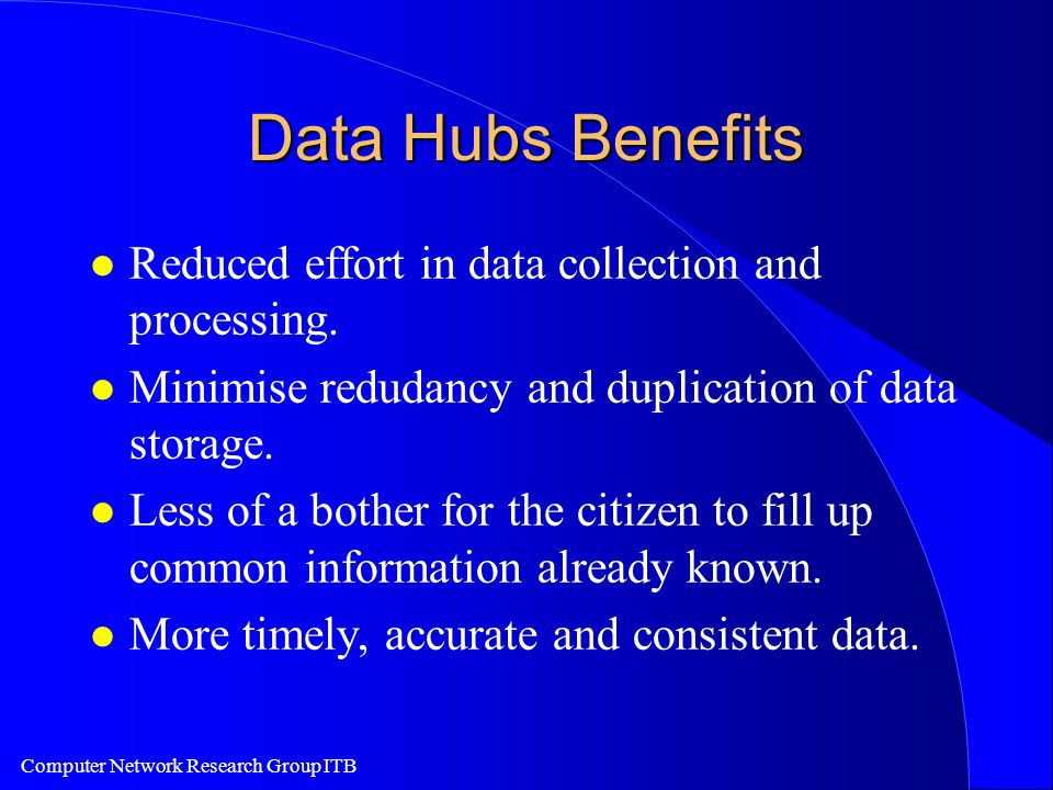 Computer Network Research Group ITB Data Hubs Benefits l Reduced effort in data collection and processing. l Minimise redudancy and duplication of dat