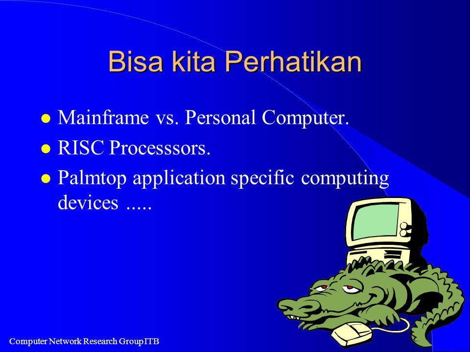 Computer Network Research Group ITB Bisa kita Perhatikan l Mainframe vs. Personal Computer. l RISC Processsors. l Palmtop application specific computi