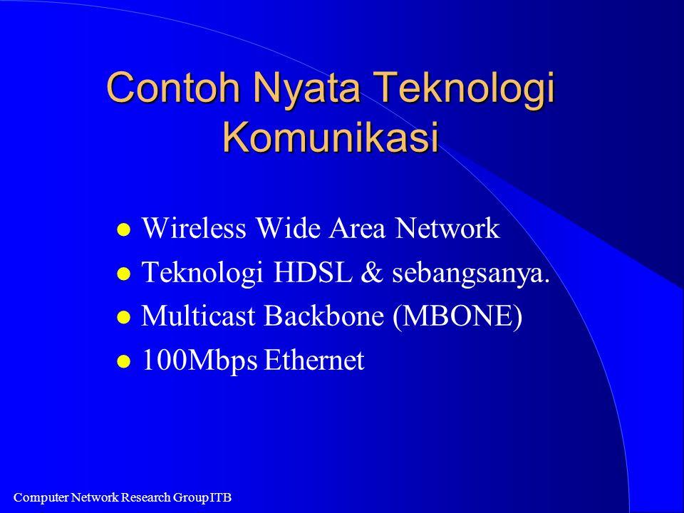 Computer Network Research Group ITB Contoh Nyata Teknologi Komunikasi l Wireless Wide Area Network l Teknologi HDSL & sebangsanya. l Multicast Backbon