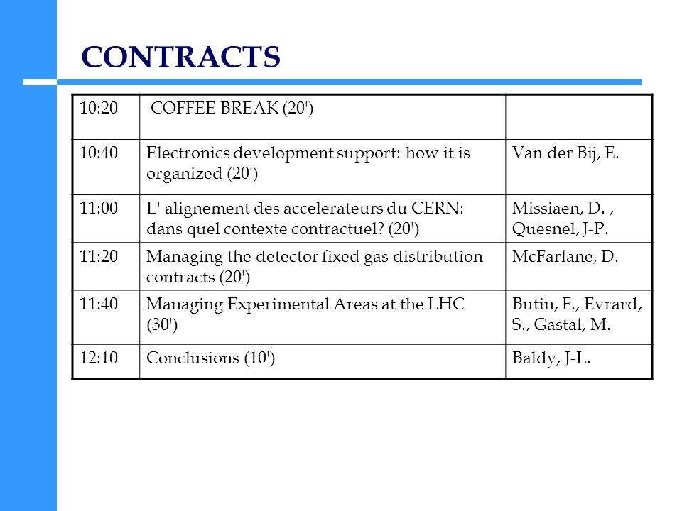 CONTRACTS 10:20 COFFEE BREAK (20 ) 10:40Electronics development support: how it is organized (20 ) Van der Bij, E.