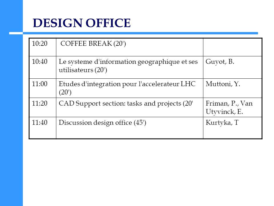 DESIGN OFFICE 10:20 COFFEE BREAK (20 ) 10:40Le systeme d information geographique et ses utilisateurs (20 ) Guyot, B.