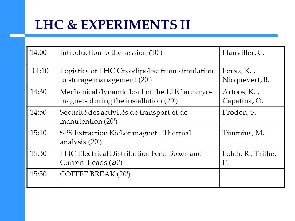 LHC & EXPERIMENTS II 14:00Introduction to the session (10 )Hauviller, C.