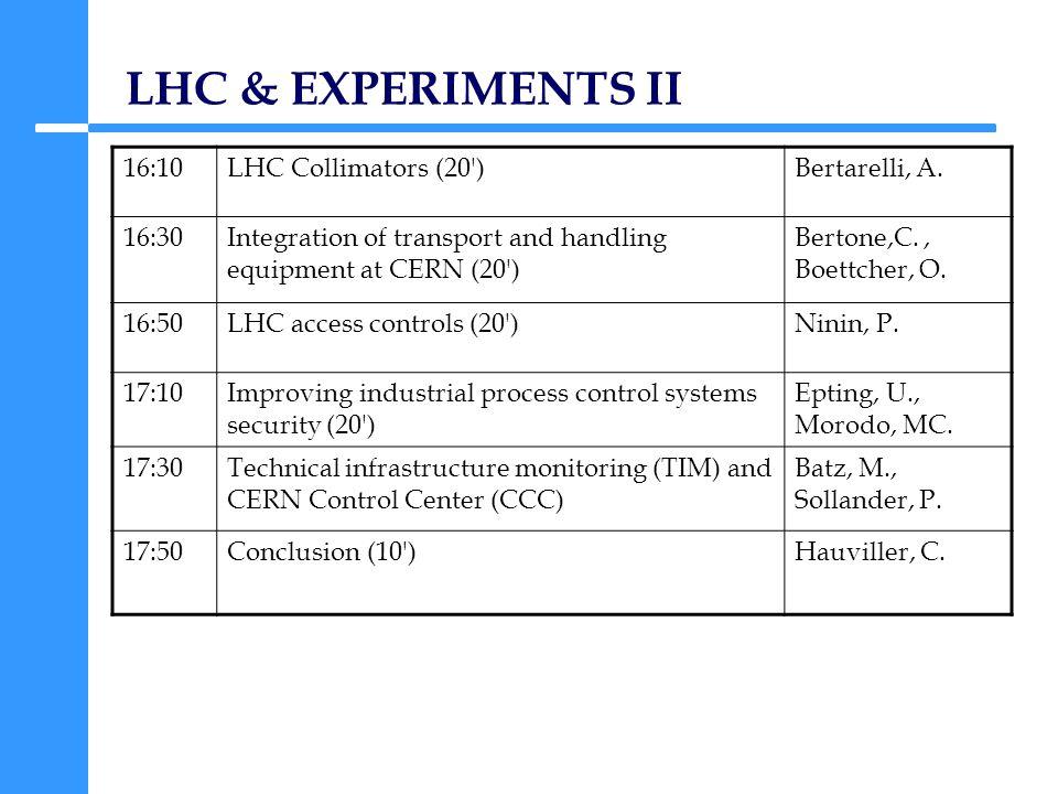 LHC & EXPERIMENTS II 16:10LHC Collimators (20 )Bertarelli, A.