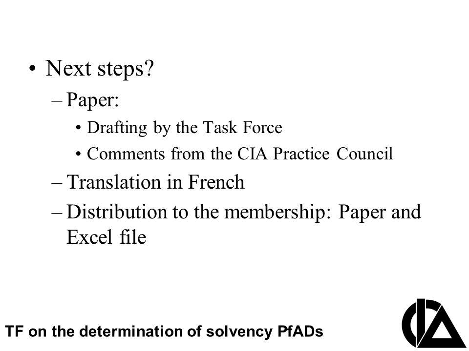 CIA Pension Seminar  Colloque sur les régimes de retraite Next steps? –Paper: Drafting by the Task Force Comments from the CIA Practice Council –Tran