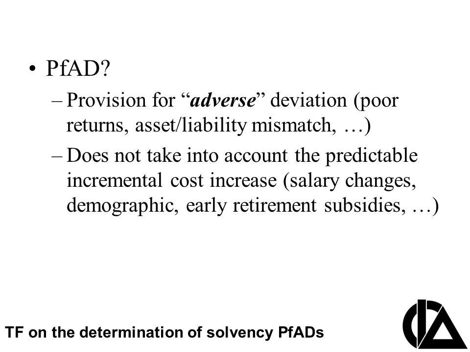 """CIA Pension Seminar  Colloque sur les régimes de retraite PfAD? –Provision for """"adverse"""" deviation (poor returns, asset/liability mismatch, …) –Does"""