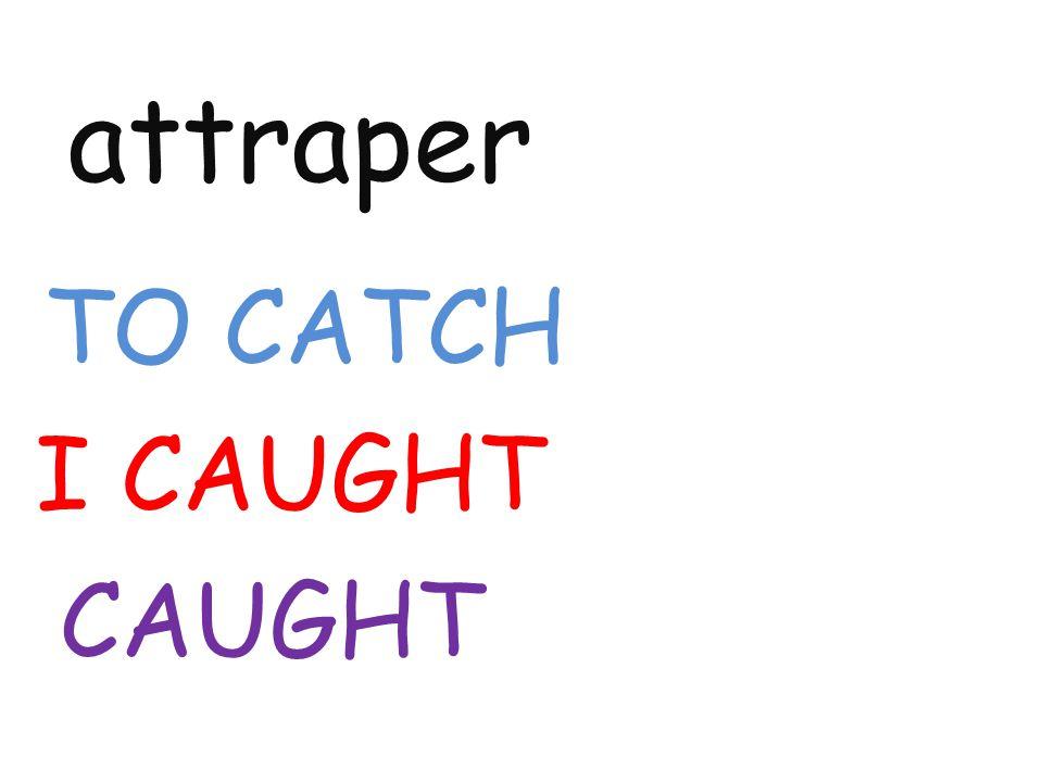 attraper TO CATCH I CAUGHT CAUGHT