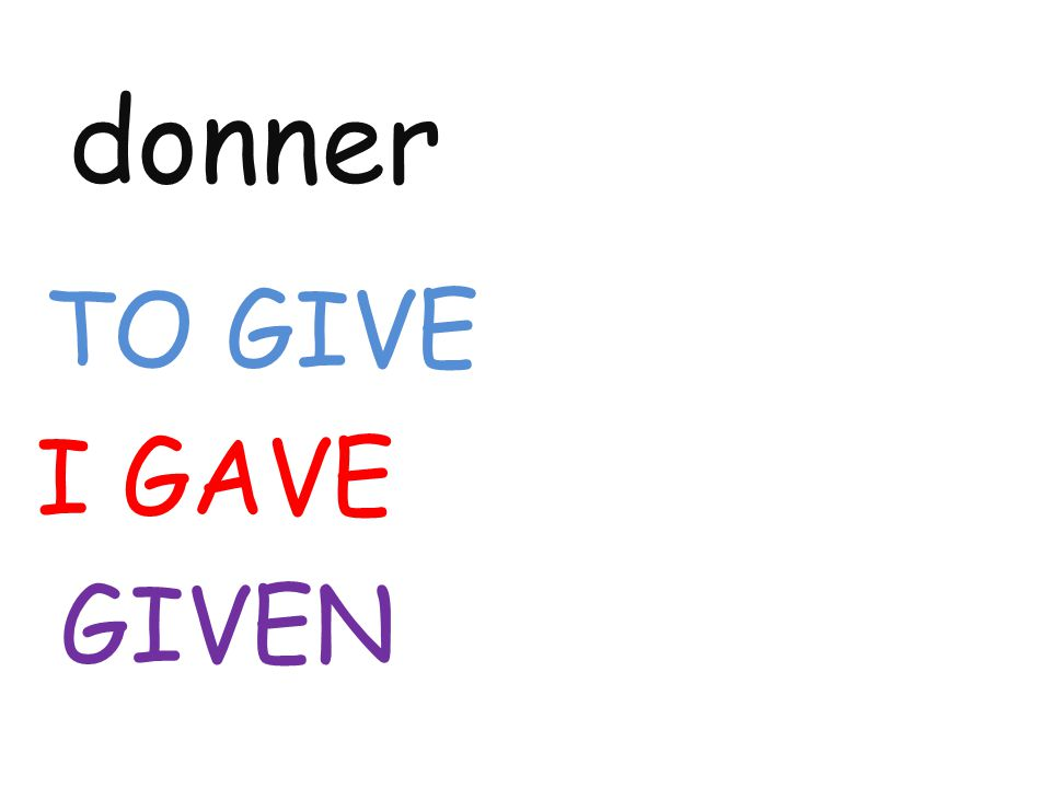 donner TO GIVE I GAVE GIVEN