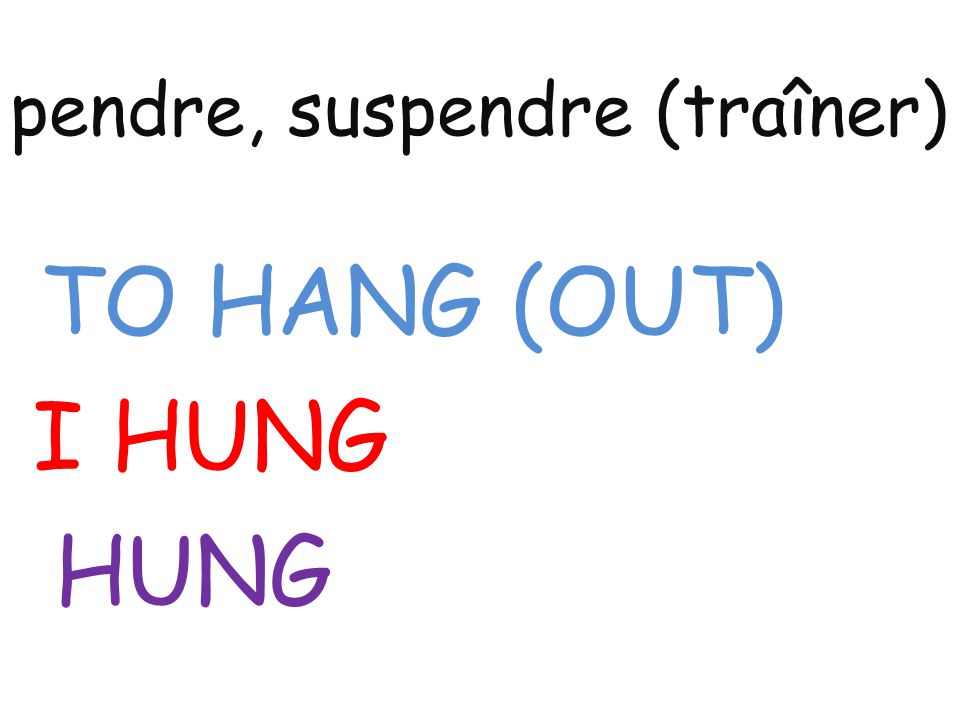 pendre, suspendre (traîner) TO HANG (OUT) I HUNG HUNG