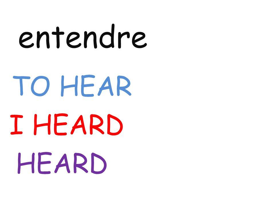 entendre TO HEAR I HEARD HEARD