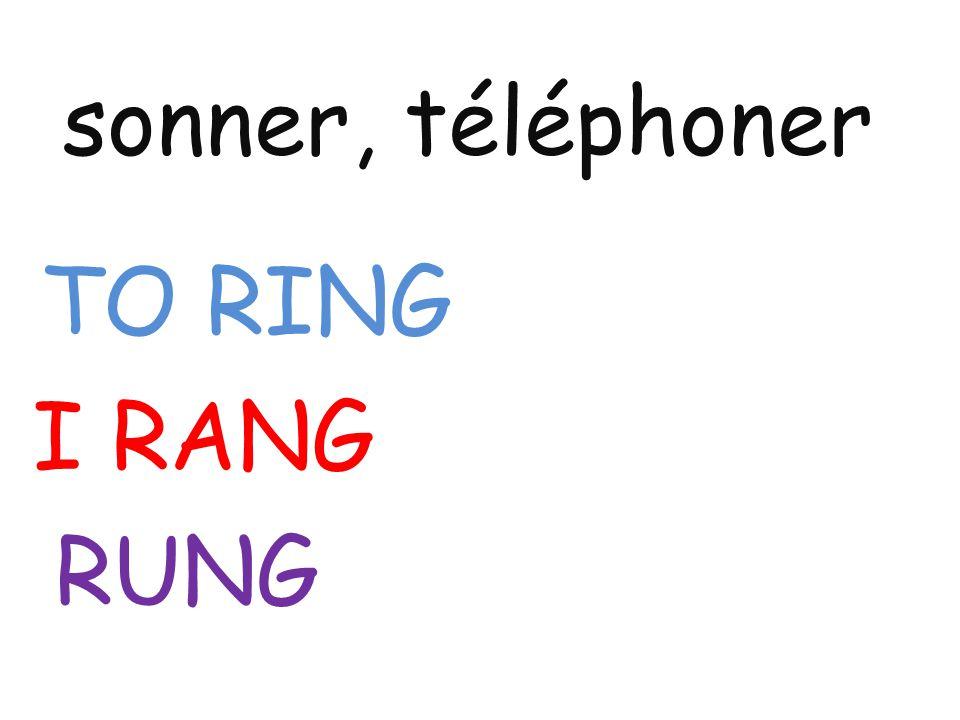 sonner, téléphoner TO RING I RANG RUNG