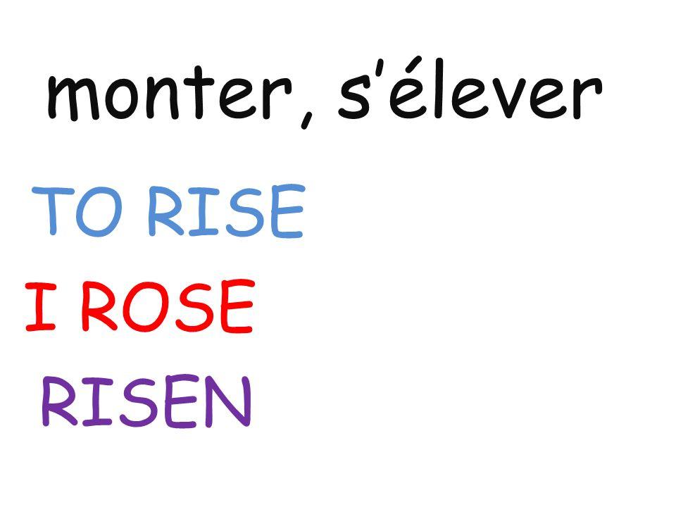 monter, s'élever TO RISE I ROSE RISEN