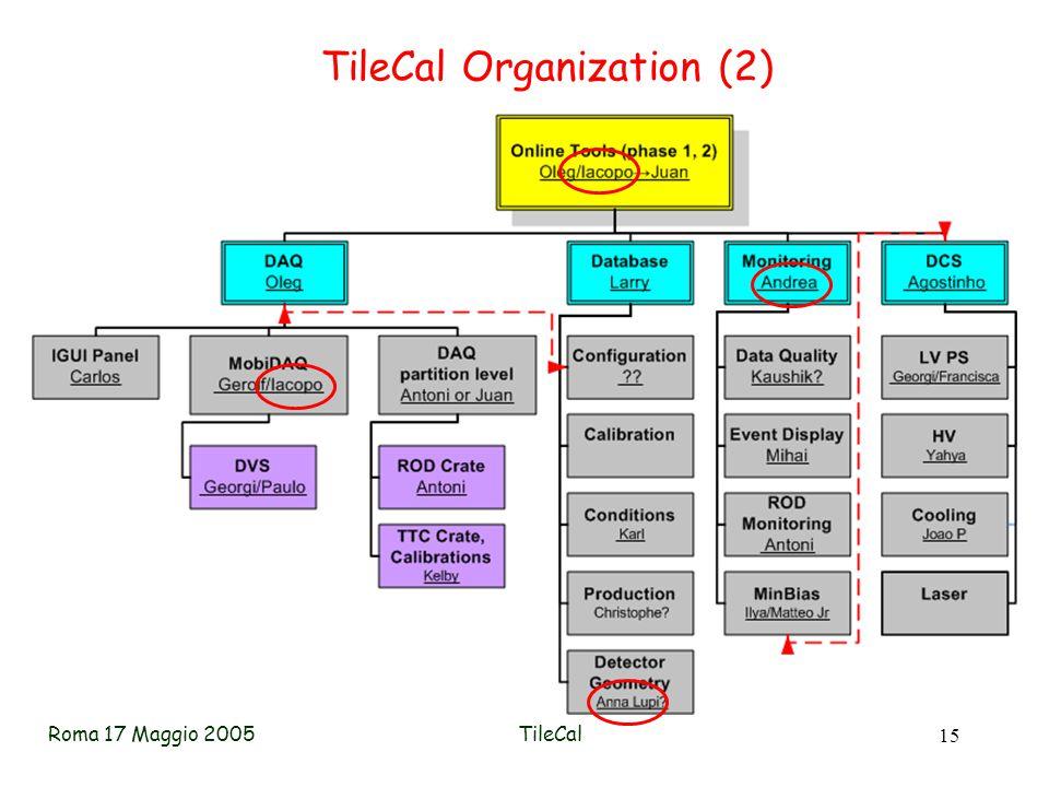 Roma 17 Maggio 2005TileCal 15 TileCal Organization (2)