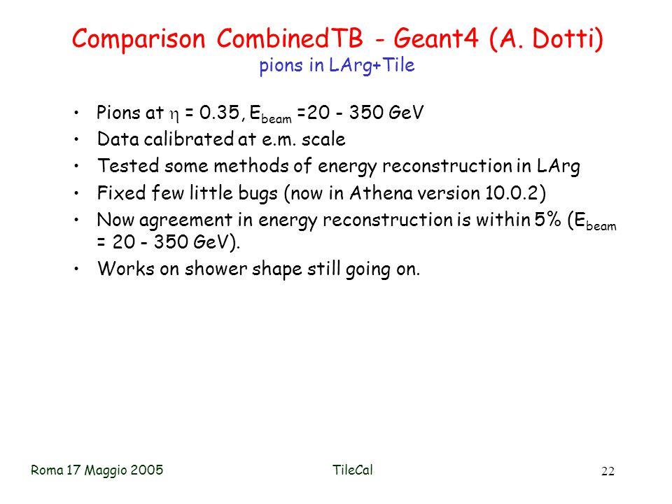 Roma 17 Maggio 2005TileCal 22 Comparison CombinedTB - Geant4 (A.