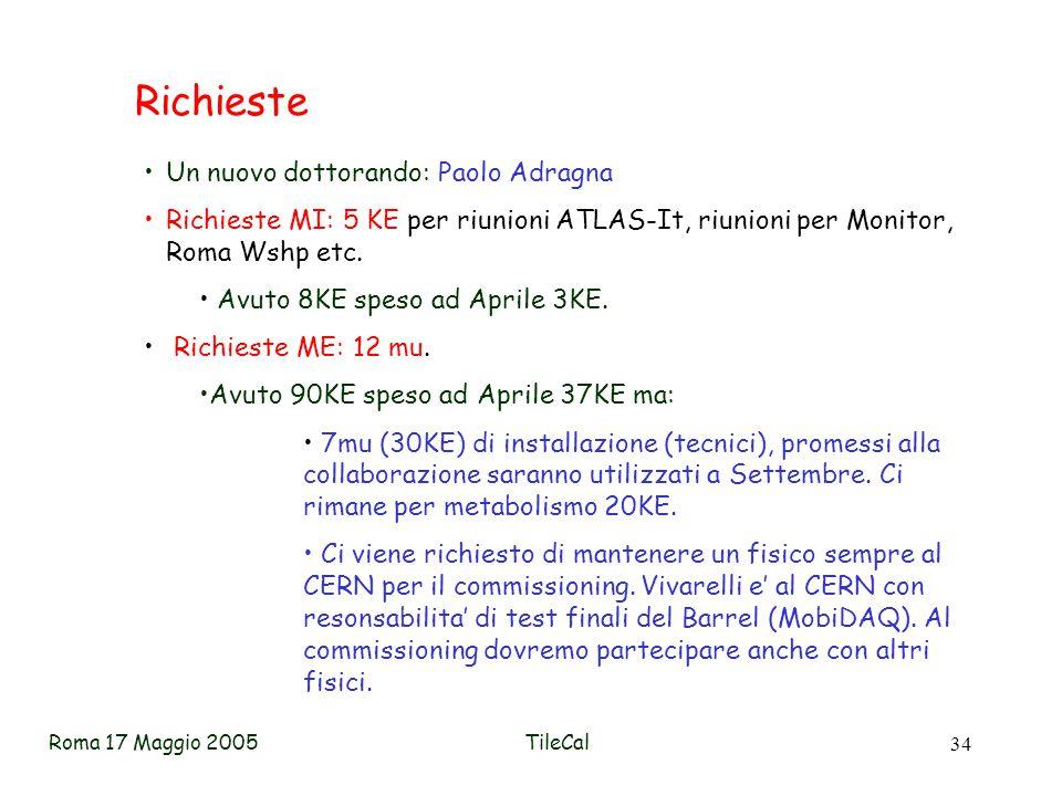 Roma 17 Maggio 2005TileCal 34 Richieste Un nuovo dottorando: Paolo Adragna Richieste MI: 5 KE per riunioni ATLAS-It, riunioni per Monitor, Roma Wshp etc.