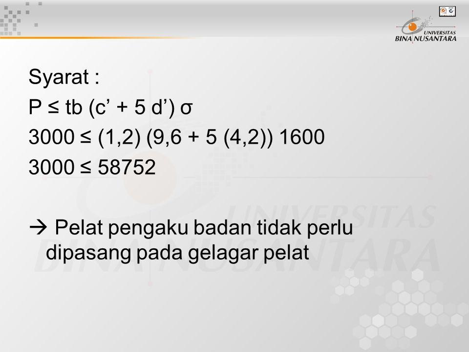 Syarat : P ≤ tb (c' + 5 d') σ 3000 ≤ (1,2) (9,6 + 5 (4,2)) 1600 3000 ≤ 58752  Pelat pengaku badan tidak perlu dipasang pada gelagar pelat