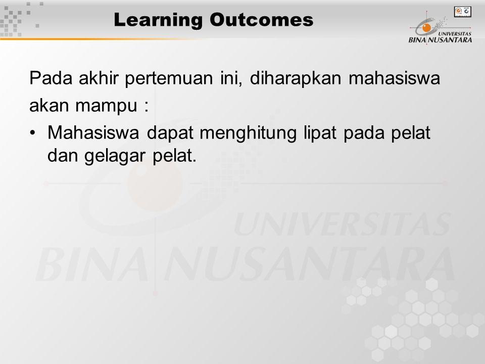 Learning Outcomes Pada akhir pertemuan ini, diharapkan mahasiswa akan mampu : Mahasiswa dapat menghitung lipat pada pelat dan gelagar pelat.