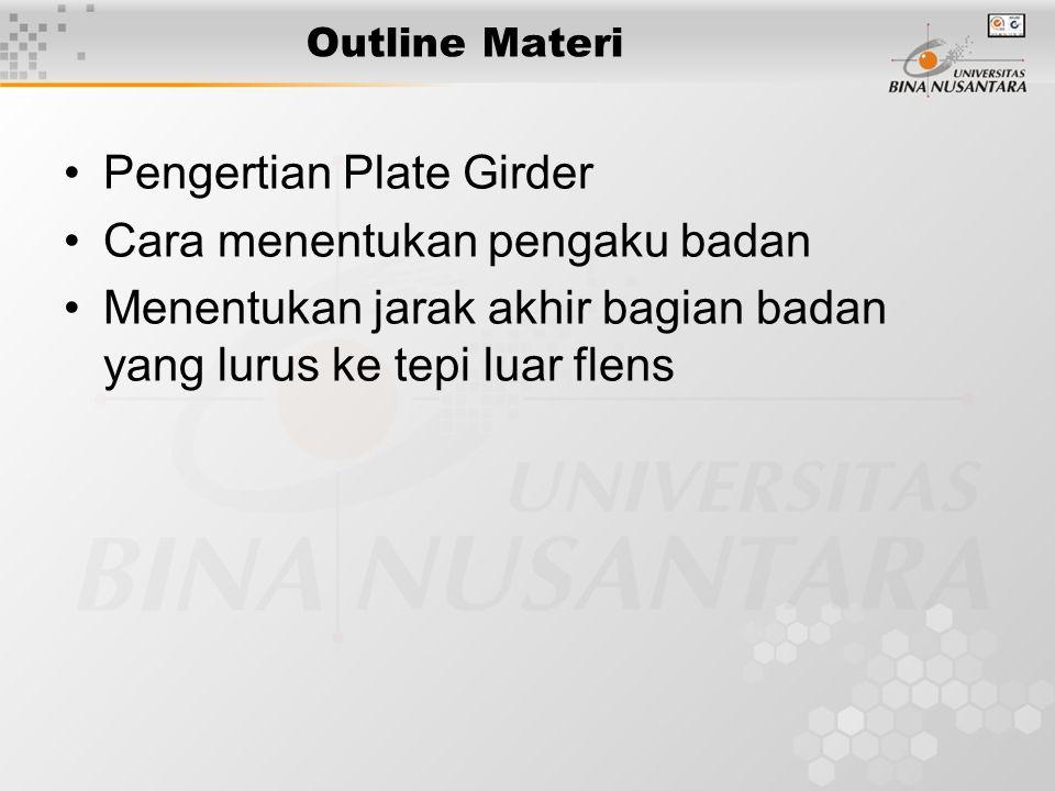 Outline Materi Pengertian Plate Girder Cara menentukan pengaku badan Menentukan jarak akhir bagian badan yang lurus ke tepi luar flens