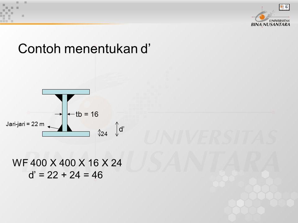Contoh menentukan d' tb = 16 24 Jari-jari = 22 m d' WF 400 X 400 X 16 X 24 d' = 22 + 24 = 46