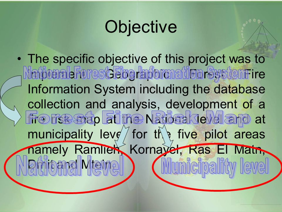 Objective The specific objective of this project was to implement Geographic Forest Fire Information System including the database collection and anal