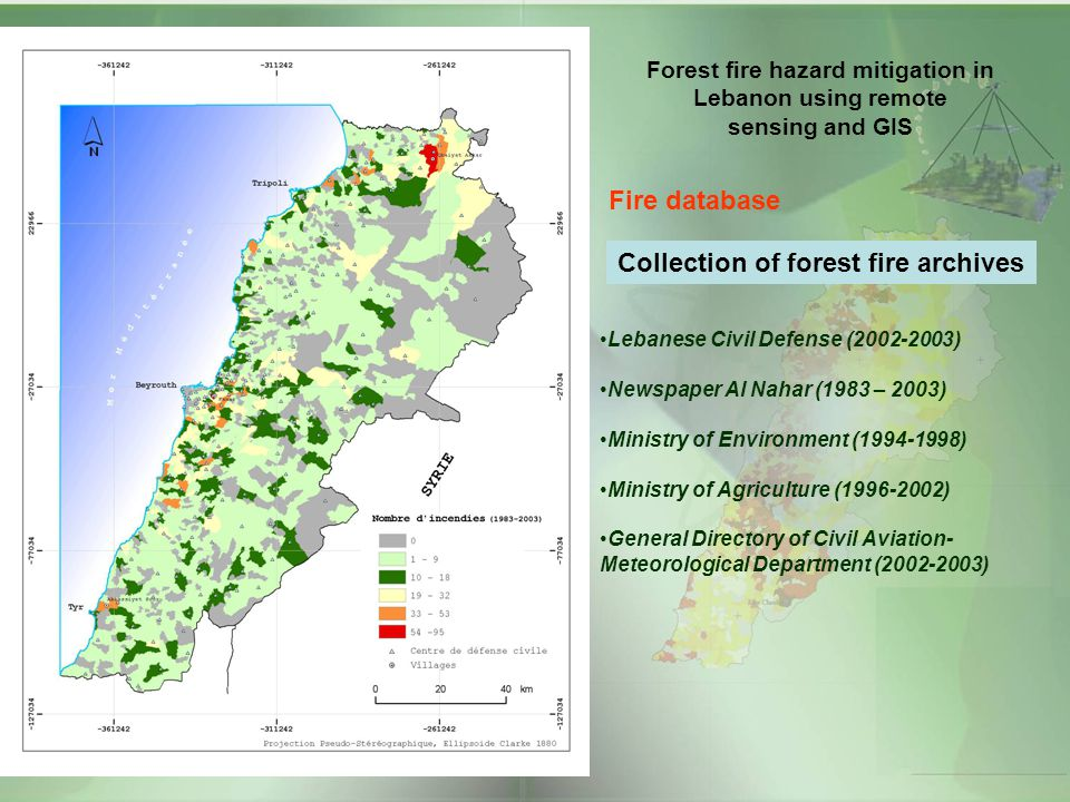 Forest fire hazard mitigation in Lebanon using remote sensing and GIS Fire database Collection of forest fire archives Lebanese Civil Defense (2002-20