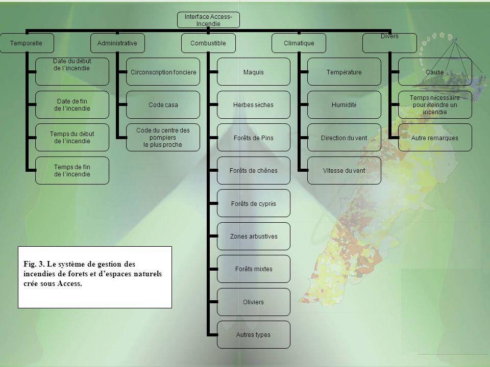 Fig. 3. Le système de gestion des incendies de forets et d'espaces naturels crée sous Access.